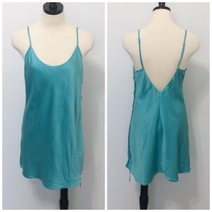 Victoria's Secret Silk Aqua Chemise Slip Nightie